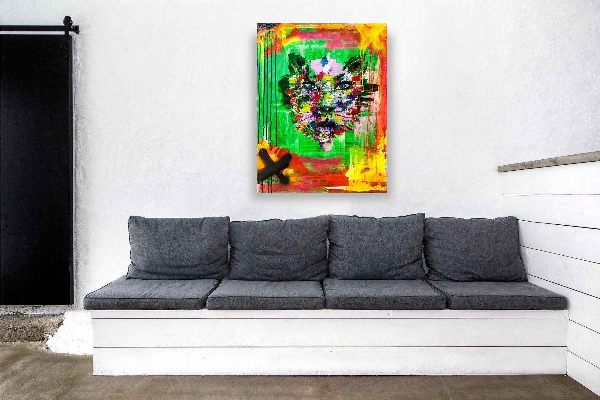 Målad med akryl i högkvalitetsfärg.